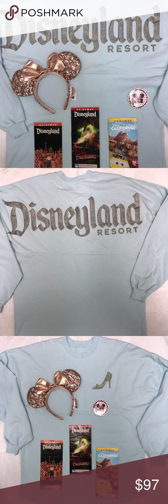 """DISNEYLAND EXCLUSIVE CINDERELLA SPIRIT JERSEY EARS """"NOW AVAILABLE JUST RELEASED""""   DISNEYLAND (2018) """"PRINCESS SERIES"""" SPIRIT JERSEY'S ...... THIS IS THE DISNEYLAND (2018) """"CINDERELLA VERSION"""" SPIRIT JERSEY ......  WE HAVE MOST SIZES AVAILABLE : ( SMALL - MEDIUM - LARGE - XLARGE - XXL ) .... ** IMPORTANT NOTICE** PLEASE MESSAGE ME FIRST BEFORE MAKING YOUR PURCHASE TO CONFIRM YOUR SIZE AVAILABILITY .. PLUS WITH THIS """"SPECIAL OFFER"""" YOU ALSO GET (1) DISNEYLAND """"ROSE GOLD"""" MINNIE MOUSE EARS YOU…"""