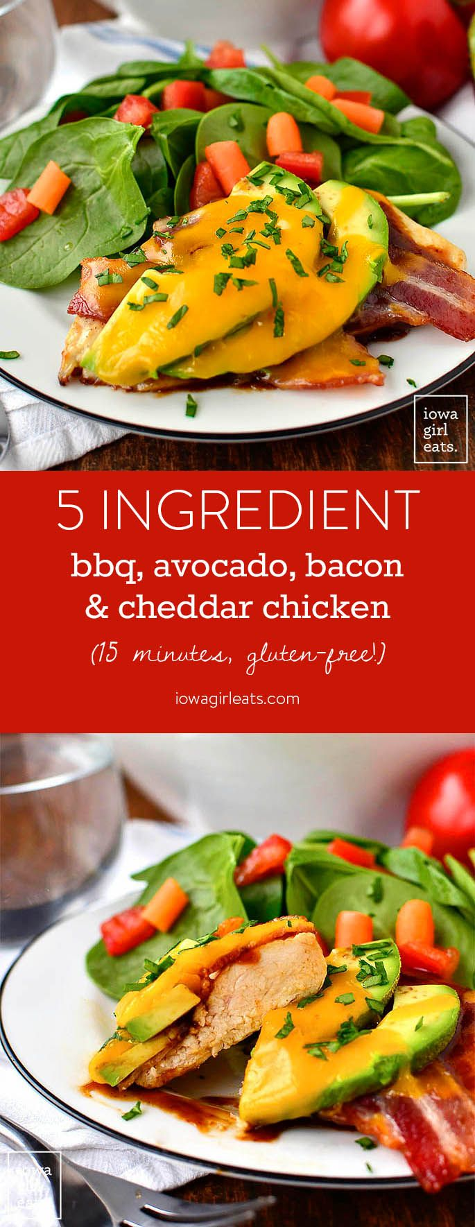 5 IngredientBBQ, Avocado, Bacon and Cheddar Chicken takes just 15 minutes to cook, and is totally craveable. This easy, gluten-free dinner recipe is such a winner! | iowagirleats.com