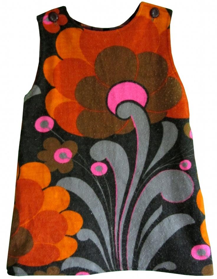 60s / 70s floral cotton shift dress. de droomfabriek: Gratis patroon jurkje maat 92/98