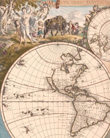 Antique typographic world map by Frederick de Wit