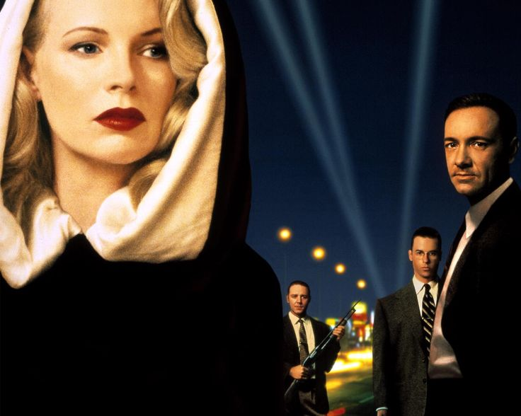 Kim Basinger, Russell Crowe and Kevin Spacey in LA Confidential-a throwback crime drama made in the 90's but about the early 1950's underworld of Los Angeles.