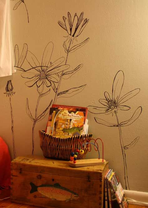 This months project...tree line drawings in sharpie on the boys bedroom walls!!!