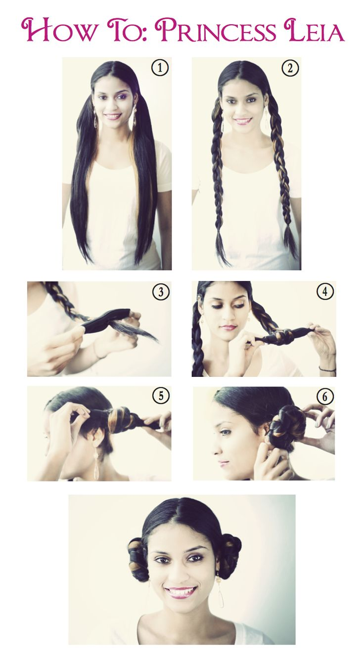 Halloween Princess Leia Step By Step!  Twist the hair instead of braiding it for a movie-accurate style.