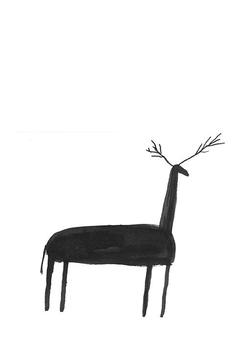 this is super simple and I love it - ink illustration, mono illustration, simple illustration, child-like illustration, christmas illustration