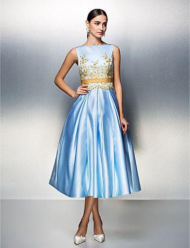 Company Party / Family Gathering Dress - Sky Blue Plus Sizes / Petite Ball Gown Bateau Tea-length Satin 2016 – $99.99
