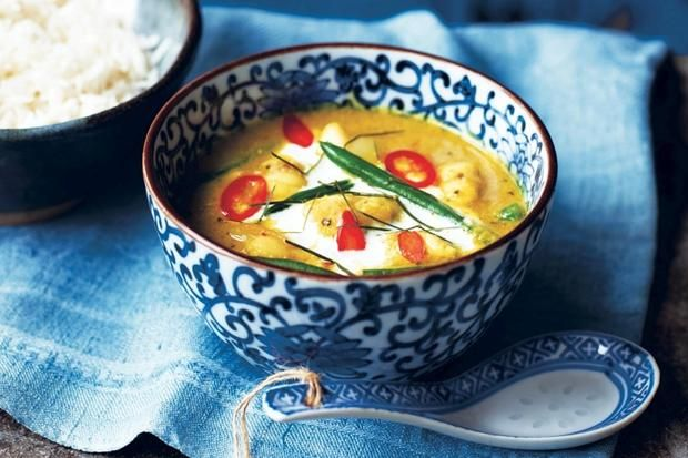 Recipe for Cambodian monkfish amok curry soup