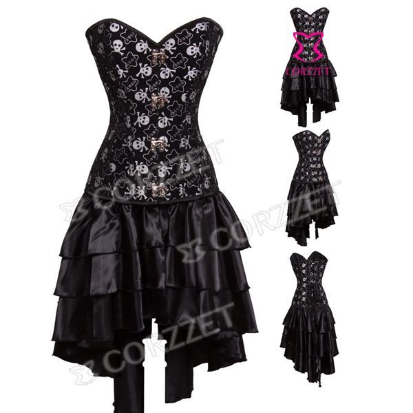 skull dark goth strapless corset dresses | Latex Burlesque Clubwear Women Skull Pattern Black Overbust Push Up ...