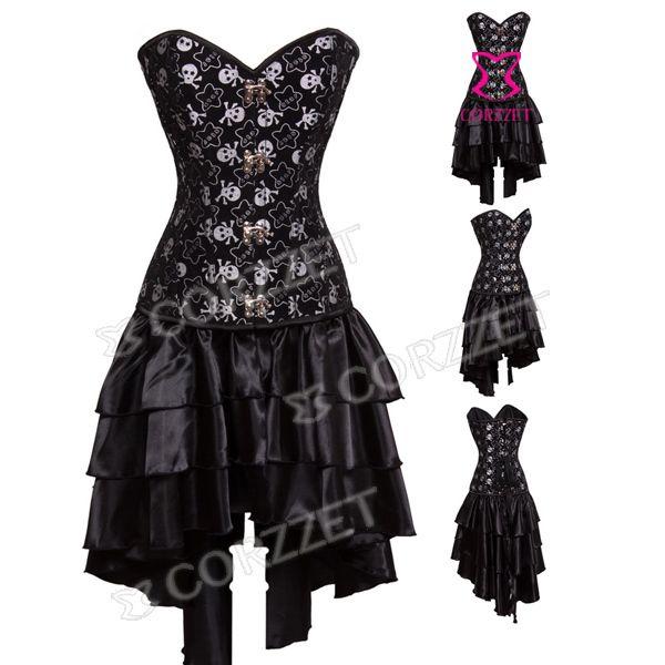 skull dark goth strapless corset dresses | Latex Burlesque Clubwear Women Skull Pattern Black Overbust Push Up ...