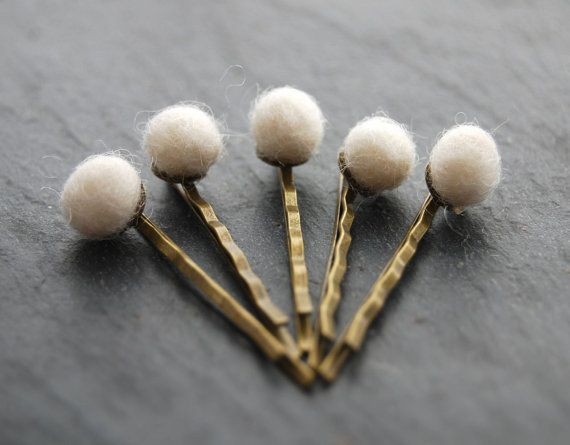 Felted Wool Bobby Pins Ivory Antique Brass by LoveandCherish