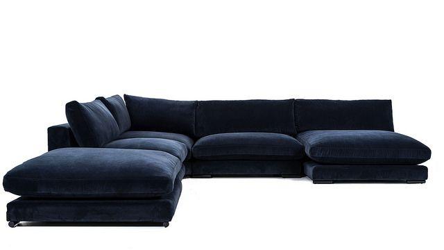 Blå Mammuten modulsoffa i sammet. Dun, soffa, modul, loveseat, divan, fotpall, sits, djup, låg, vardagsrum, möbler, inredning. http://sweef.se/sweef-lyx/508-mammuten-sammet-edition-fr-pris.html