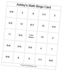 """Free Printable and Personalized Bingo Card Maker - Math(Addition) Theme This card maker will print one larger size card on one page. Change any of the numbers in the gray text boxes below if you like, then click the """"Load and Print New Card"""" button to shuffle the numbers and print. If you do not want to use 24 sets of numbers, enter the word free in the box to create additional free spaces in the game."""