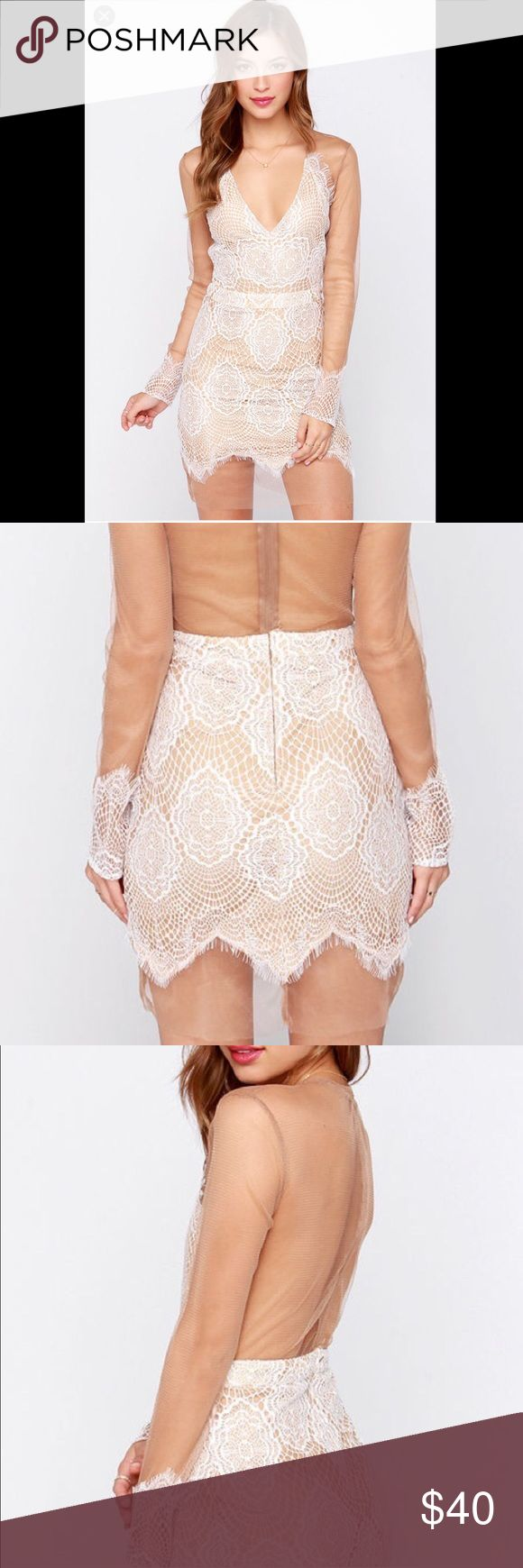 For Love & Lemons Inspired Tan & Ivory Lace Dress Worn only once for my birthday. A very cute and sexy dress in good condition. Luxxel Dresses Mini
