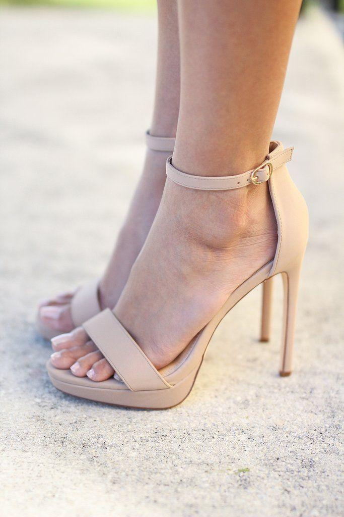 Nude Ankle Strap Platform Heels