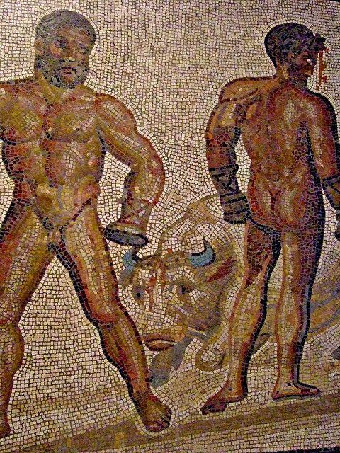 Mosaic Floor with a Boxing Scene Gallo-Roman #roman #mosaic #design