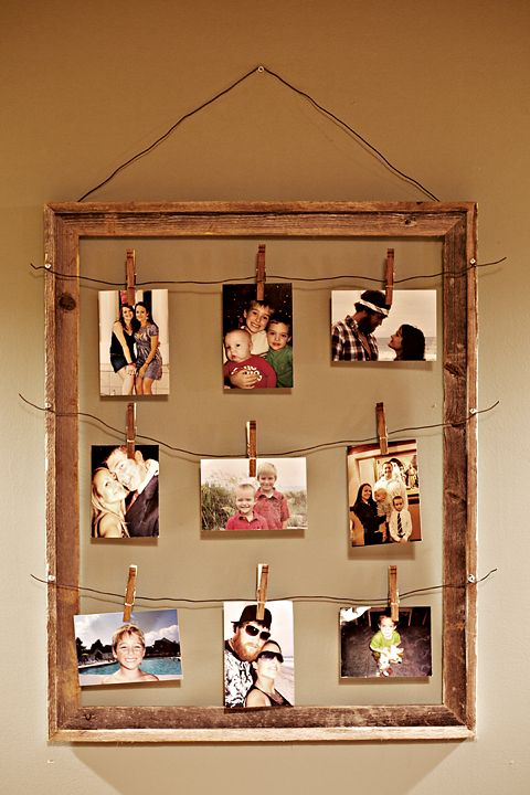 Picture frame with photos strung from wire- I love this idea. I would prefer
