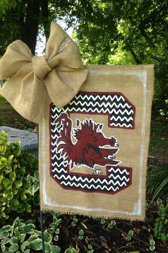 South Carolina Gamecock Chevron Burlap Garden Flag. - $27.00