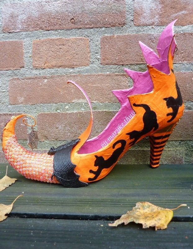 Paper mache witch shoes
