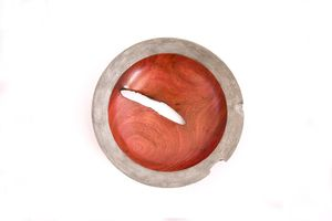 Unique One of a Kind Art Wooden Bowl with Sliver Textured Rim #timber #wooden #unique #handmade #art