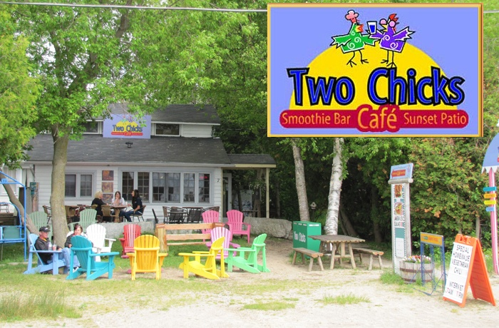 Two Chicks CafeCharming cafe close to all the action in Sauble Beach.  Open 7am-11pm. Many menu items to choose from including; sandwiches, wraps, salads, grilled paninis, and vegetarian chili. Gourmett coffees, lattes, capuccinos, bagels, muffins, cinnamon buns and more. There is a smoothie bar and slushies in the cafe.  Free internet and computer access with seating inside or outside. Live music Friday and Saturday night. Friendly staff.7 Second Avenue North, Sauble BeachPh