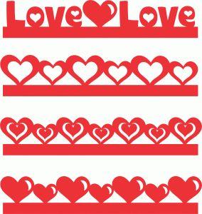 Silhouette Design Store - View Design #72930: valentines day borders set