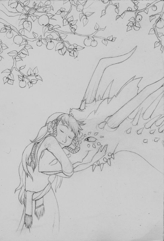 Sketch-gift for Aisha Autumn. Girl with dragon