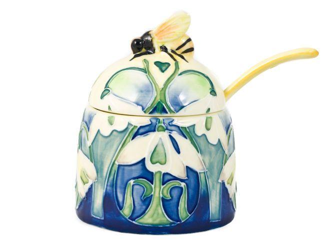 Snowdrop Floral Ceramic Bee Honey Pot Old Tupton Ware