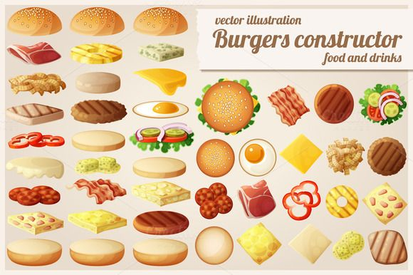 Burgers constructor by Ann-zabella on Creative Market