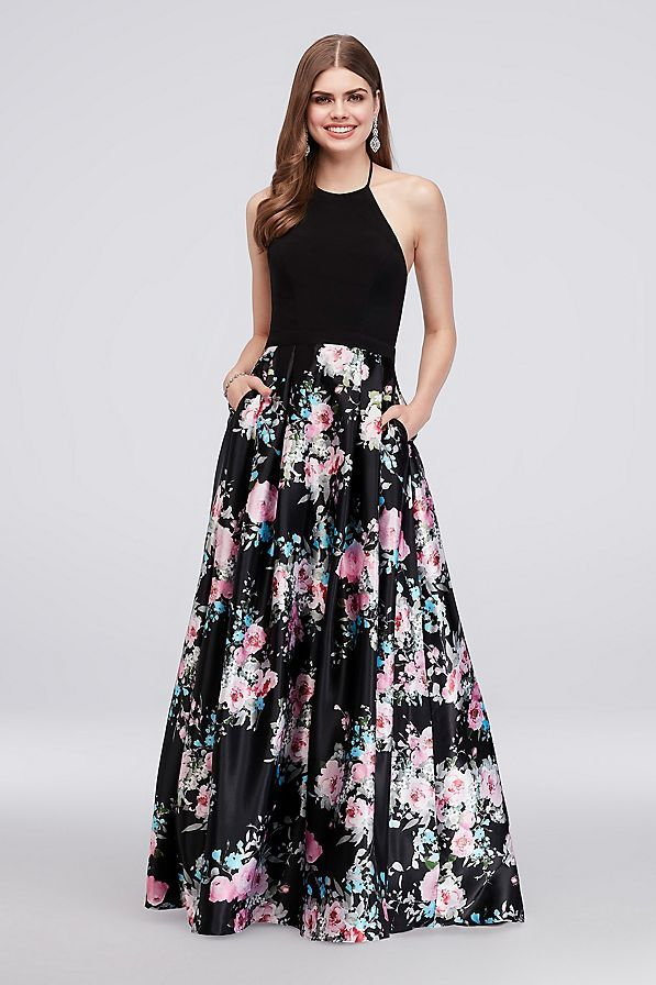 df795ef9c37 Jersey and Floral Satin Plus Size Halter Ball Gown