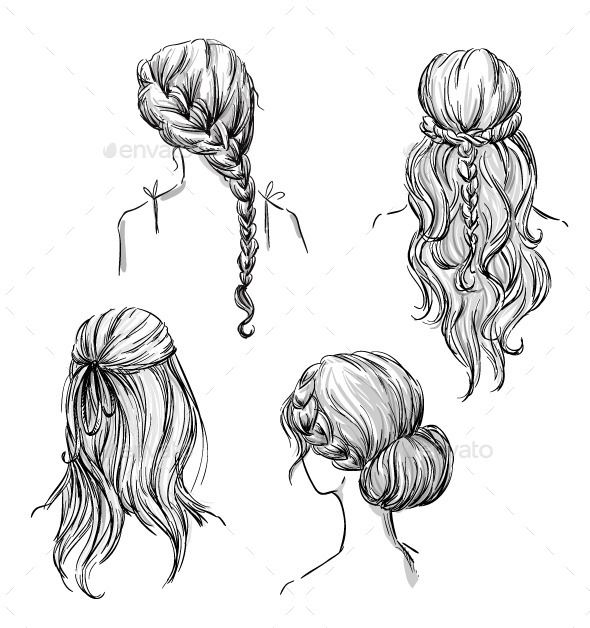 Set of Different Hairstyles (Vector EPS, CS, back view, black and white, braid, braided, bridal, bride, bun, curl, decoration, draft, drawing, fashion, freehand, girl, hair, hairdo, hairstyle, hand-drawn, illustration, isolated, line art, plait, prom, retro, sketch, texture, tresses, vector, wreath, young)