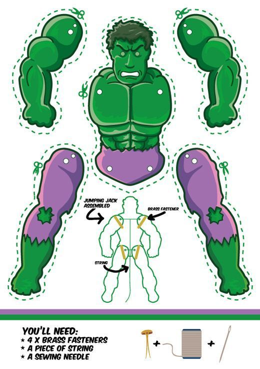 The Incredible Hulk as a Jumping Jack. Dowload free template. Another cool superhero puppet .: