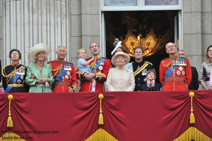 The Royal Family on the balcony of Buckingham Palace for Trooping the Colour, which celebrates the Queen's birthday, 6/13/15