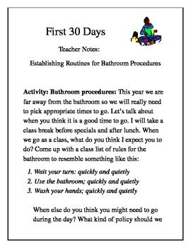 This is a page for your binder to help you remember how to introduce bathroom procedures with your class. ...