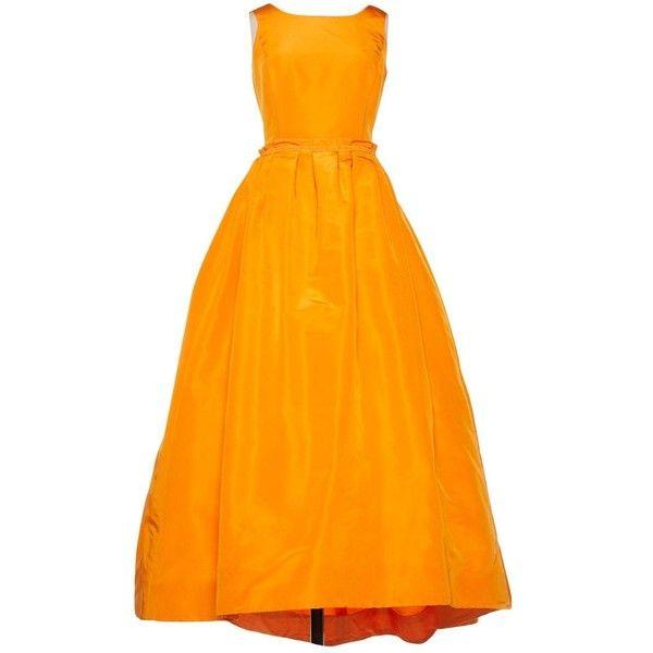 Pre-owned Oscar De La Renta Silk Maxi Dress ($1,593) ❤ liked on Polyvore featuring dresses, orange, women clothing dresses, knotted maxi dress, circle skirt, sleeveless dress, pleated maxi dresses and drape dress