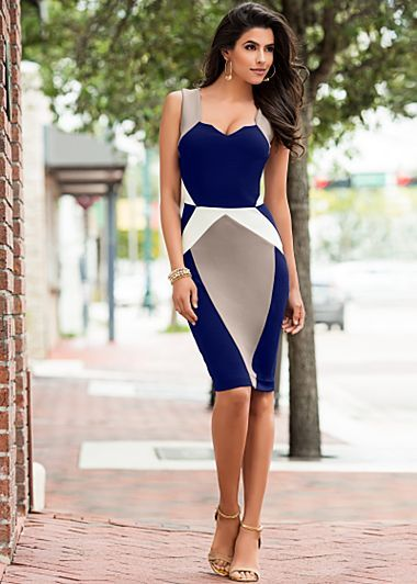 Blue, tan and white color block sheath dress in sizes S - L. Hardware detail sandal heels available in full and half sizes 5.5 - 9, 10.