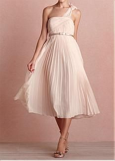 Alluring Chiffon & Stretch Satin A-line One Shoulder Neckline Raised Waist Tea-length Party Dress with Decorative Button. Get superb discounts up to 60% Off at Dressilyme with Coupon and Promo Codes.