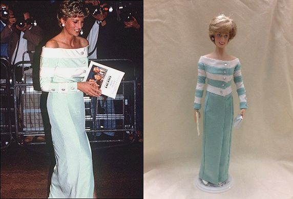 Catherine Walker dinner dress with green and cream horizontally striped bodice and green skirt, split to the knee. Princess Diana wore this to the premiere of Accidental Hero in 1993. Christie's auction dress 17. Dress by SnE. Doll by Franklin Mint #Princess Diana dolls #Franklin Mint dolls