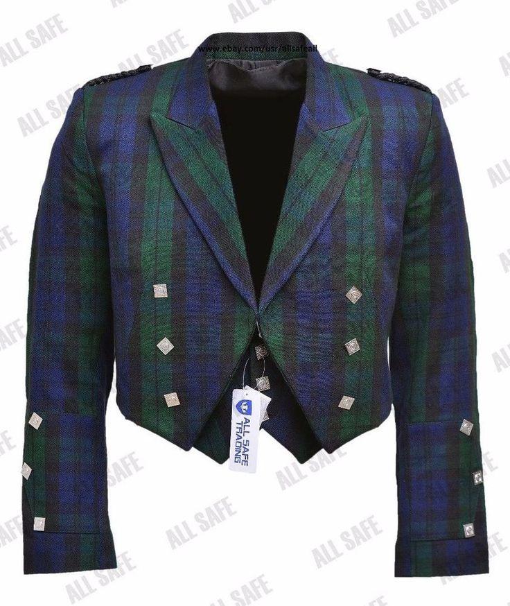 Prince Charlie Black Watch Tartan Kilt Jacket With Waistcoat/Vest - Sizes 36- 54 #AllSafe #JacketsWaistcoats