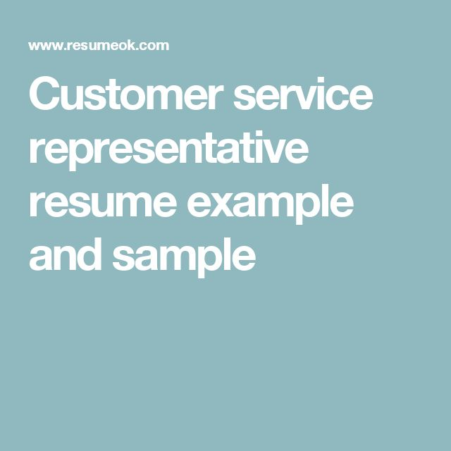 Customer service representative resume example and sample