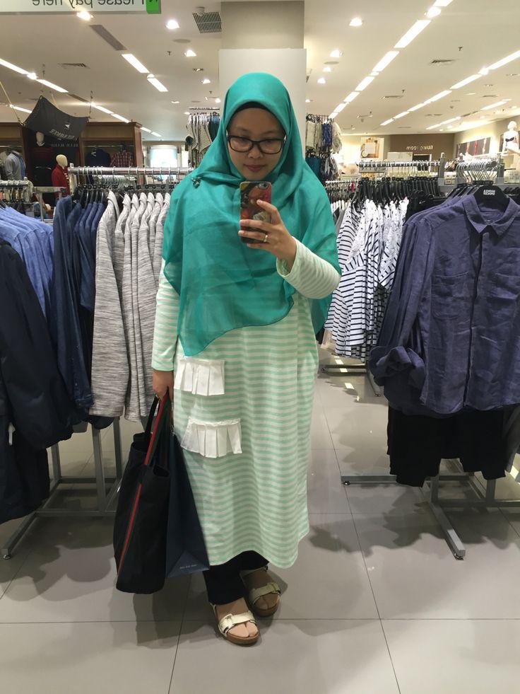 Greeny stripes #hijabfashion #hijabmodest