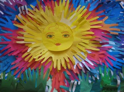 Colorful sun made from student's handprints.  Would make a nice bulletin board display!
