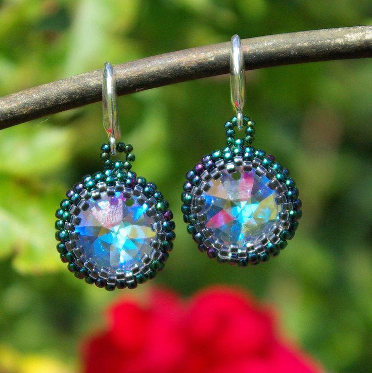 Beaded Swarovski Earrings, Blue Swarovski Earrings, Swarovski Crystal Earrings, Wedding Earrings, Bridesmaid Earrings, Gift for Her, Elegant by AuroraCrystalPassion on Etsy
