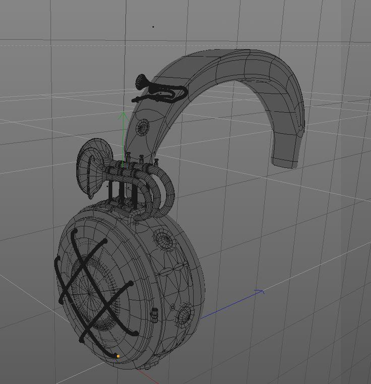 3d headphones design wireframe