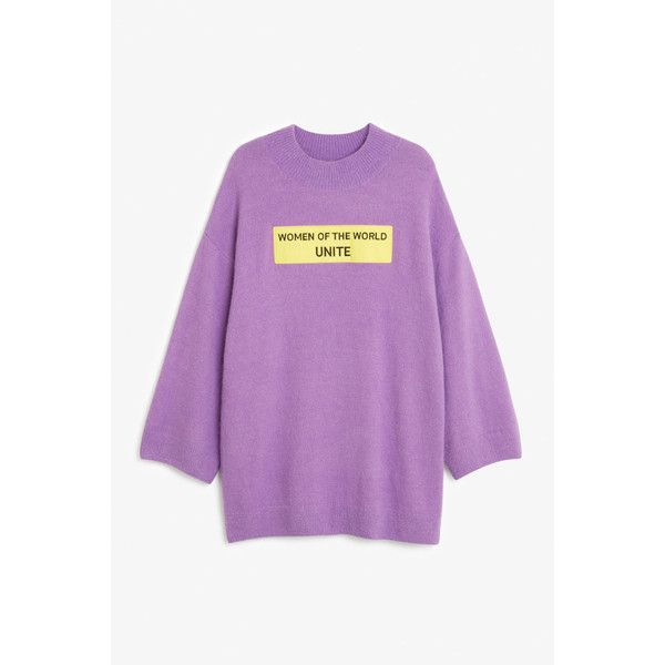 Long knit sweater - Purple rain - Knitwear - Monki (€23) ❤ liked on Polyvore featuring tops, sweaters, oversized slouchy sweater, knit top, purple top, long knit sweater and long tops