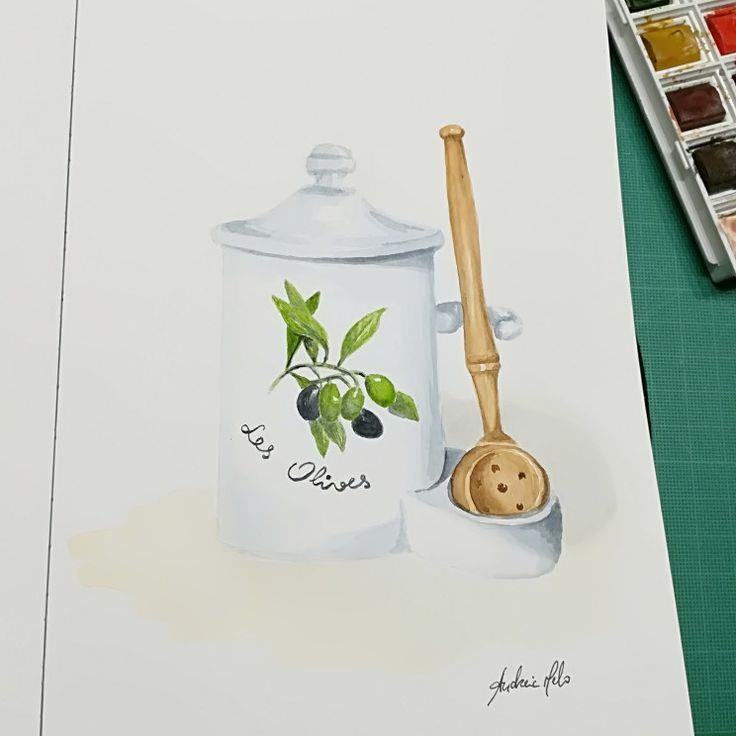 Watercolor - old recipient for olives bought in France