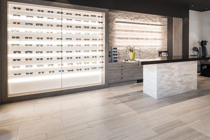 Beltrami Natural Stone/ Beltrami Natuursteen - Opticien/ Optiek - Store/ Winkel - Design - Woodstone Grey Skintouch - Glasses/brillen - Counter/ Toonbank