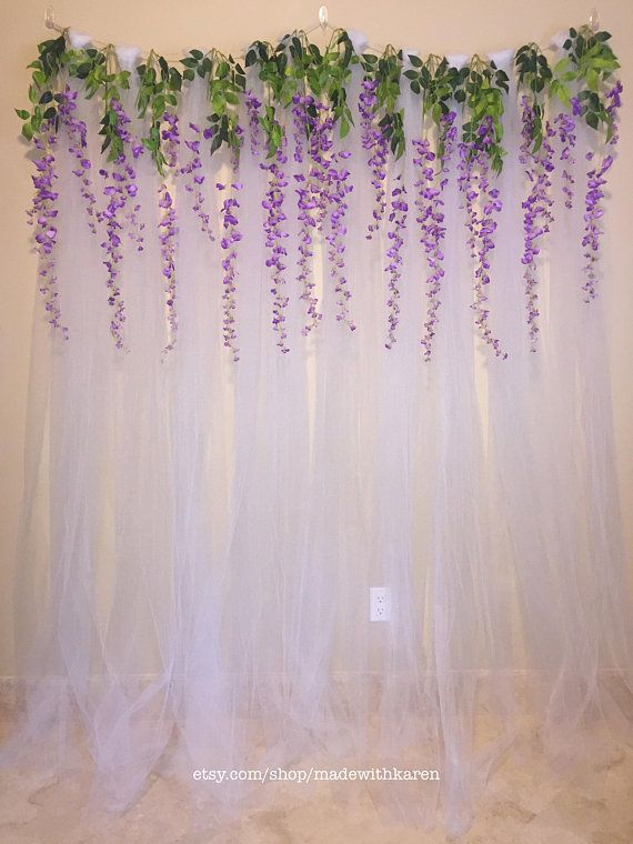 Tulle Backdrop Curtain Photo Booth With Hanging Wisteria Diy