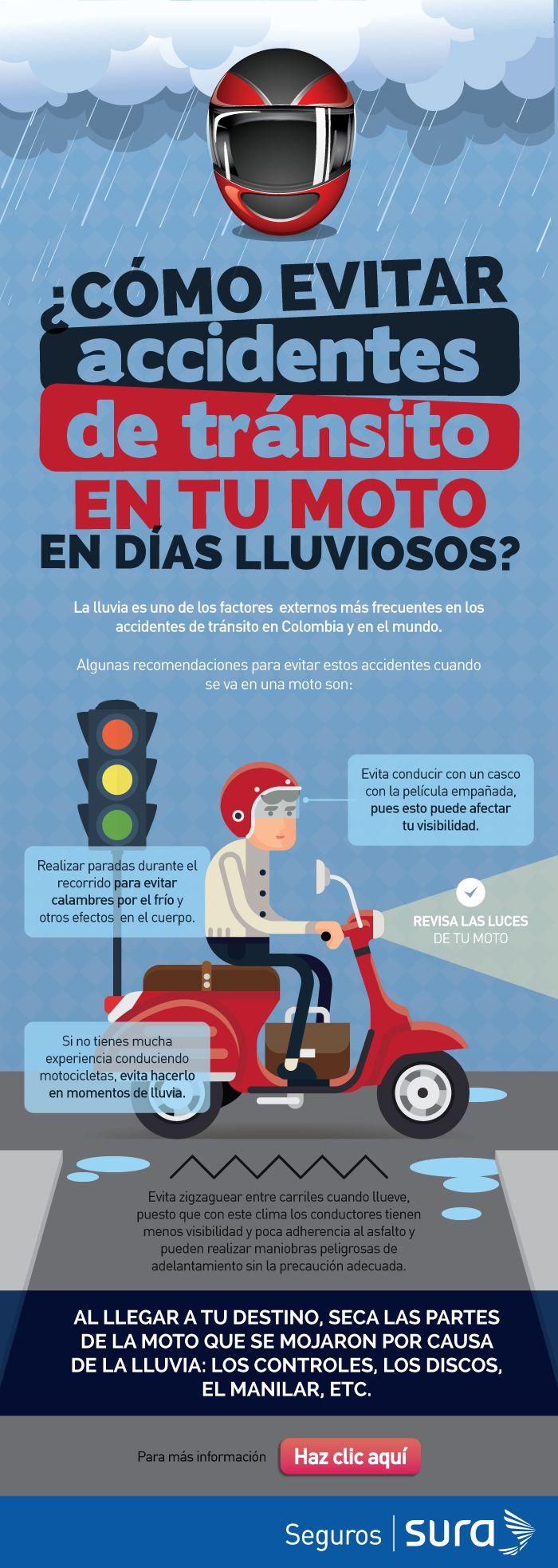 La lluvia es uno de los factores externos más frecuentes en los accidentes de tránsito en Colombia y en el mundo.   Cualquier conductor en Colombia sabe que la lluvia puede llegar sin aviso. Que en nuestros países tropicales, sin verano, invierno, otoño o primavera, un día soleado puede convertirse en una tormenta en cuestión de horas, ocasionando, entre otros, trancones, demoras, y más grave aún, accidentes de tránsito.