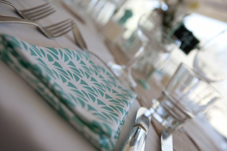 Sea foam, mint wedding, fabric napkin, place setting, Art Deco