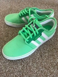 My Lime Green trainers/pumps from Adidas by Adidas! Size 5.0 for £38.99. Check it out: http://www.vinted.co.uk/womens-shoes/sandals/6716562-lime-green-trainerspumps-from-adidas.