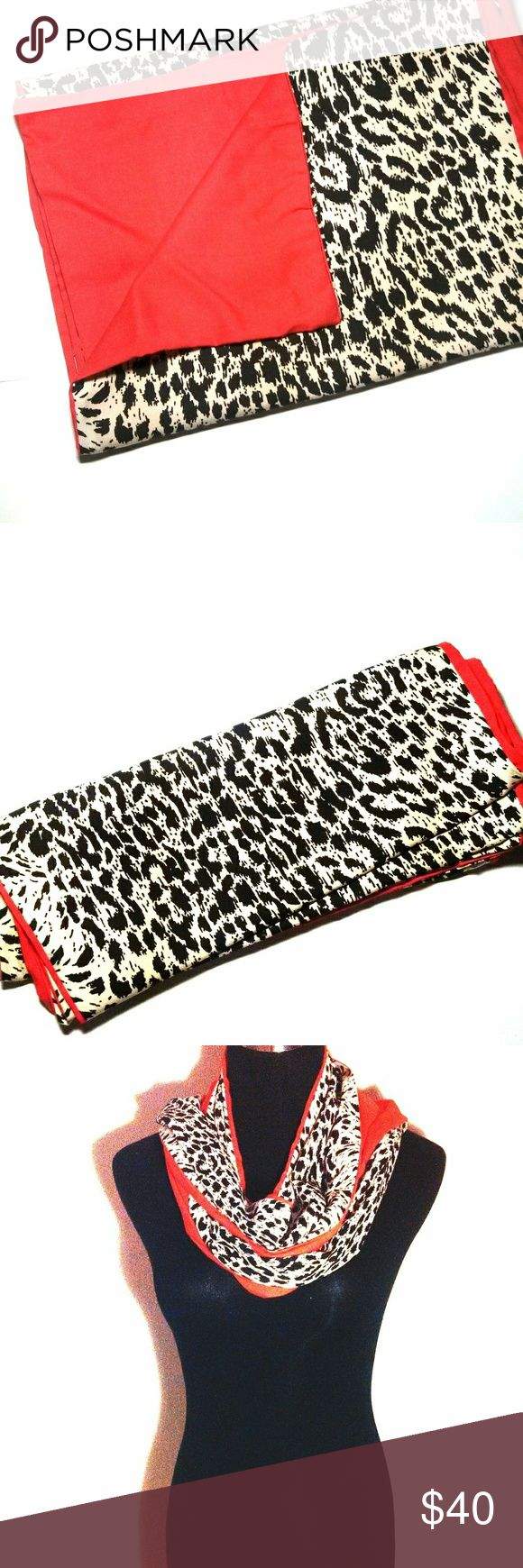 """Handmade double-sided jaguar print and coral scarf Unique double - sided scarf. One side has a black and off - white jaguar like print. The other is a solid deep or hot coral color. 72""""x12"""". Handmade by me. Accessories Scarves & Wraps"""